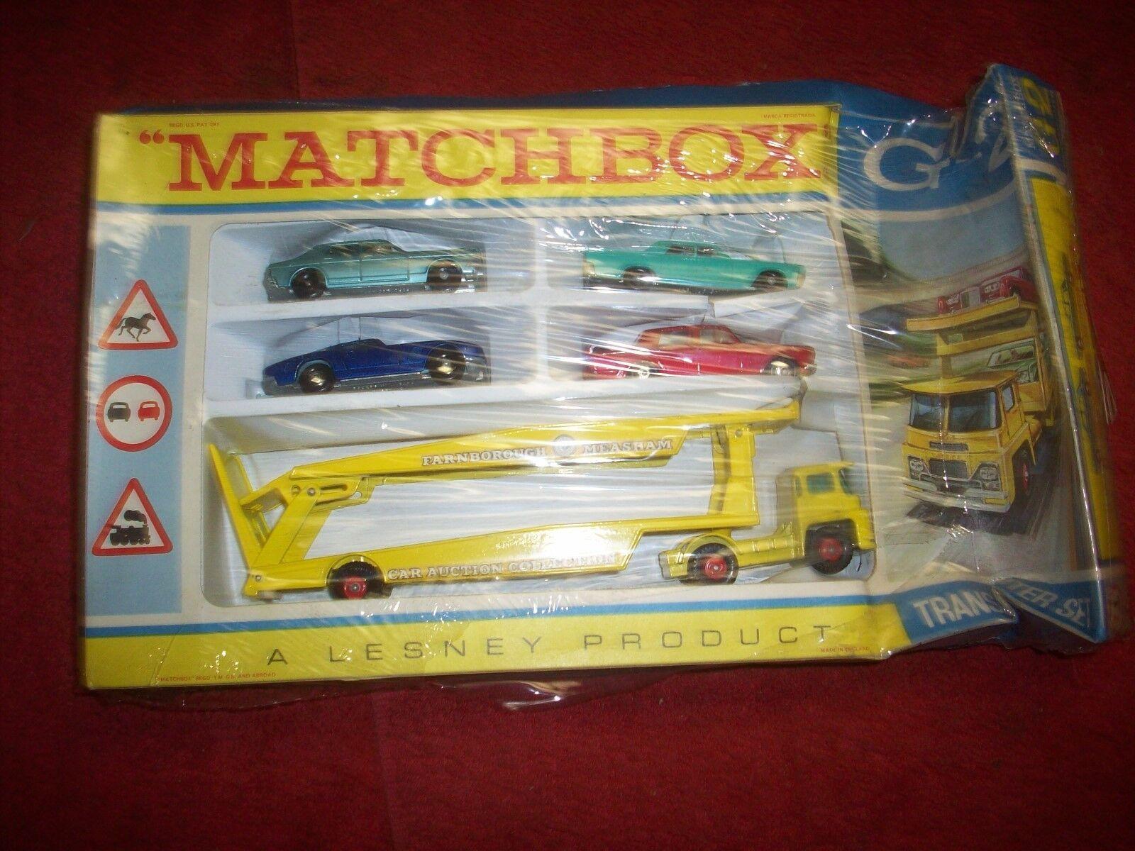 Vintage 1960's NOS Matchbox G-2 Transporter Set in Original Box Lesney