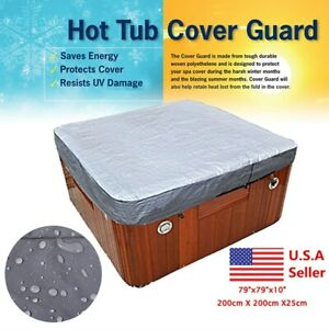 Polyester-Hot-Tub-Spa-Cover-Cap-Waterproof-Protector-Silver-Heat-Cold-Resistant