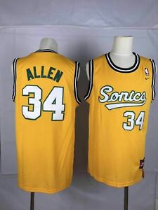Men's Seattle SuperSonics #34 Ray Allen Yellow Classic Throwback ...