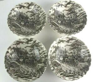 Royal-Mail-Ironstone-Cereal-Soup-Bowls-Dishes-Lot-Set-4-Vintage-Staffordshire