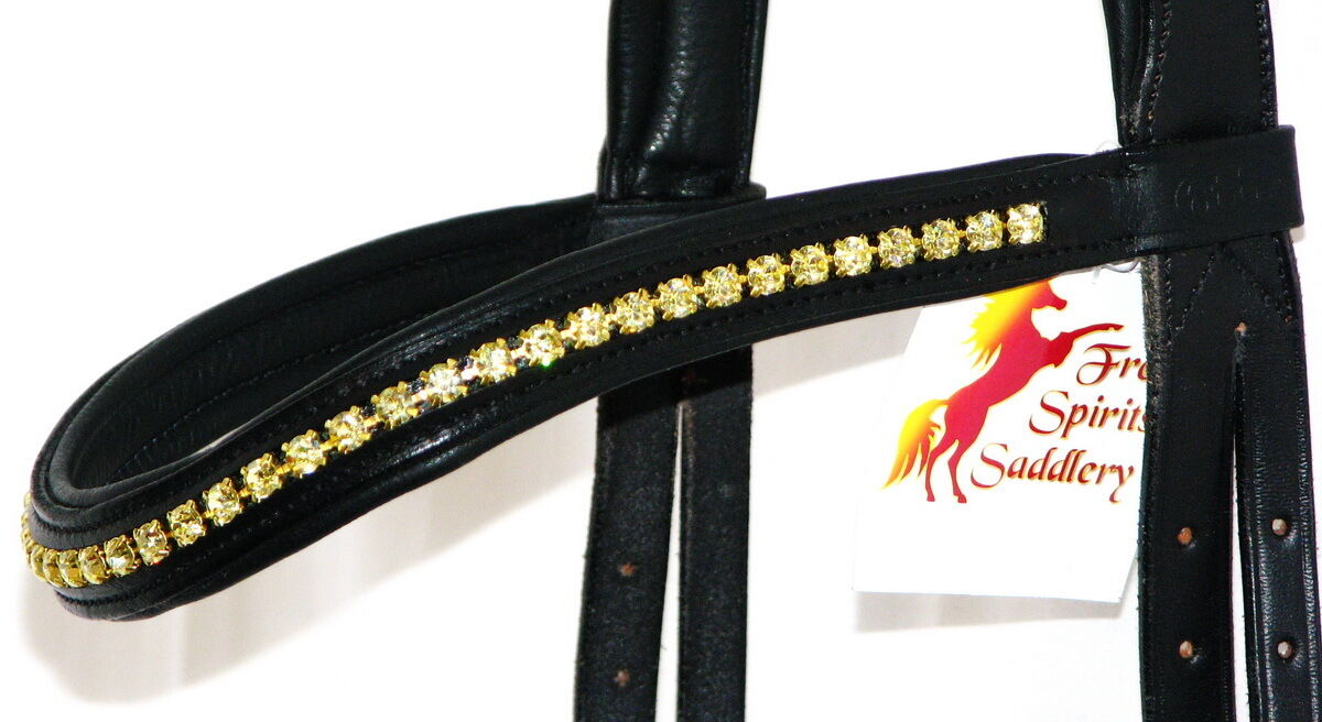FSS 6mm Crystal  JONQUIL Gelb GOLD Bling  Crystal Padded Curve V Browband Custom Made 879e2c