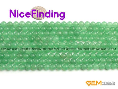 Natural Round Green Aventurine Jade Loose Stone Beads For Jewelry Making 4-18mm