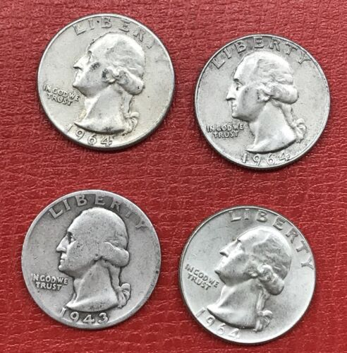 1.00 FV 90/% Silver Junk Coins Four 4 Washington Quarters