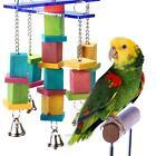 Pet Bird Parrot Parakeet Cockatiel Cage Hammock Swing Hanging Chew Wooden Toys