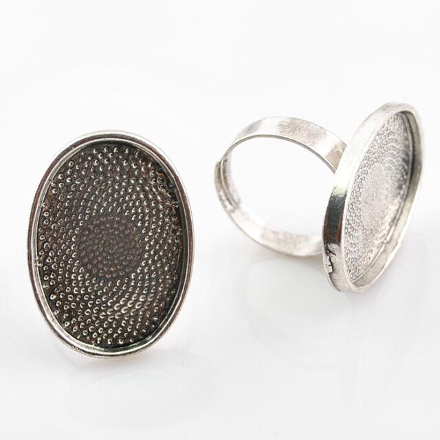 5/10pcs Anti-silver Adjustable Cabochon Setting Rings (Fit 18x25mm) DZ197