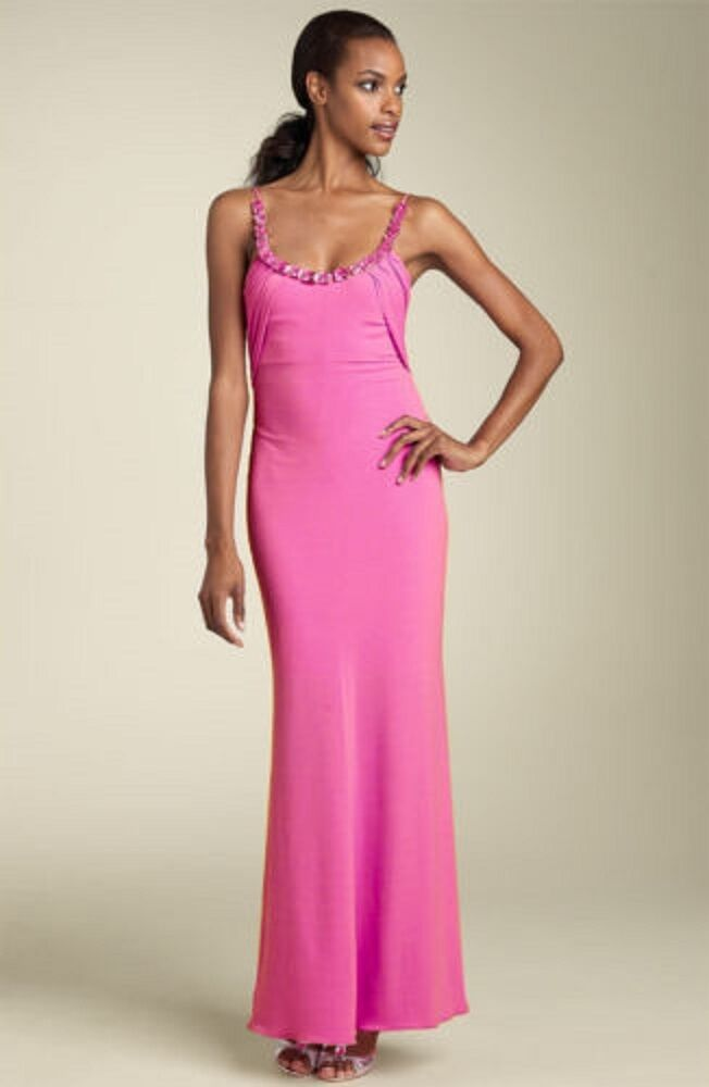 NEW MARY L COUTURE Rhinestone Matte Jersey DRESS GOWN SIZE 0 PINK NORDSTROM