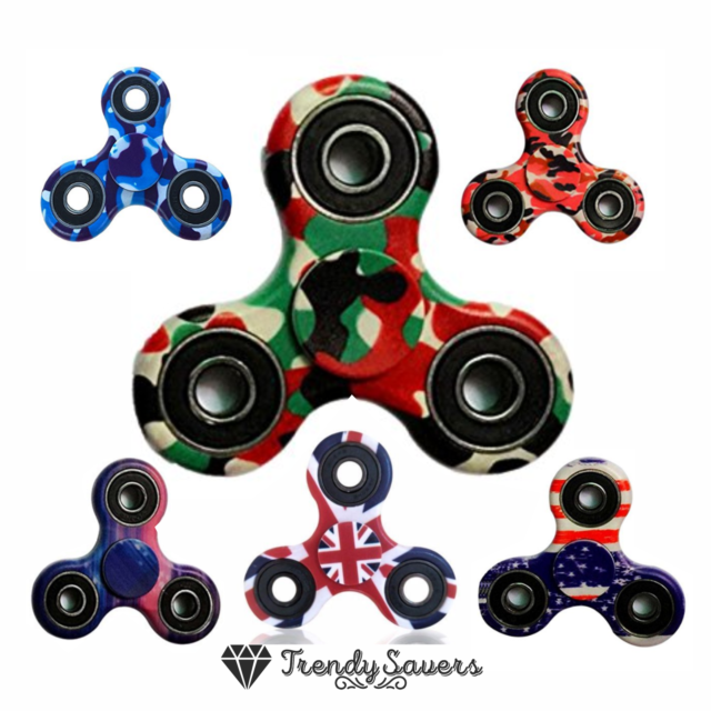 Blue Tri Fidget Hand Spinner Metal Ceramic Bearing Desk Focus EDC Finger Gyro