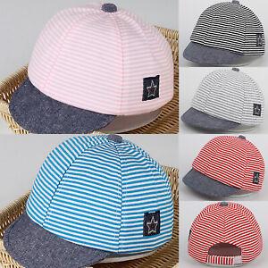 356aa4c5ec6782 Image is loading Baby-Unisex-Boys-Girls-Summer-Cotton-Hats-Striped-