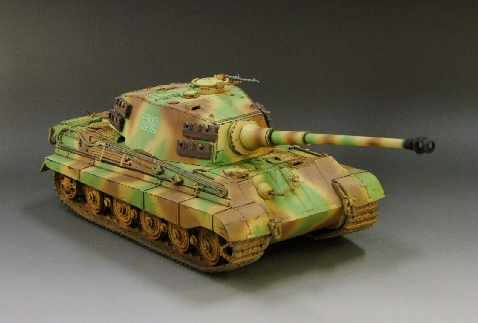 1 30 WW2 Duitse King Tiger Camouflage versie met metaalsporen en wielen