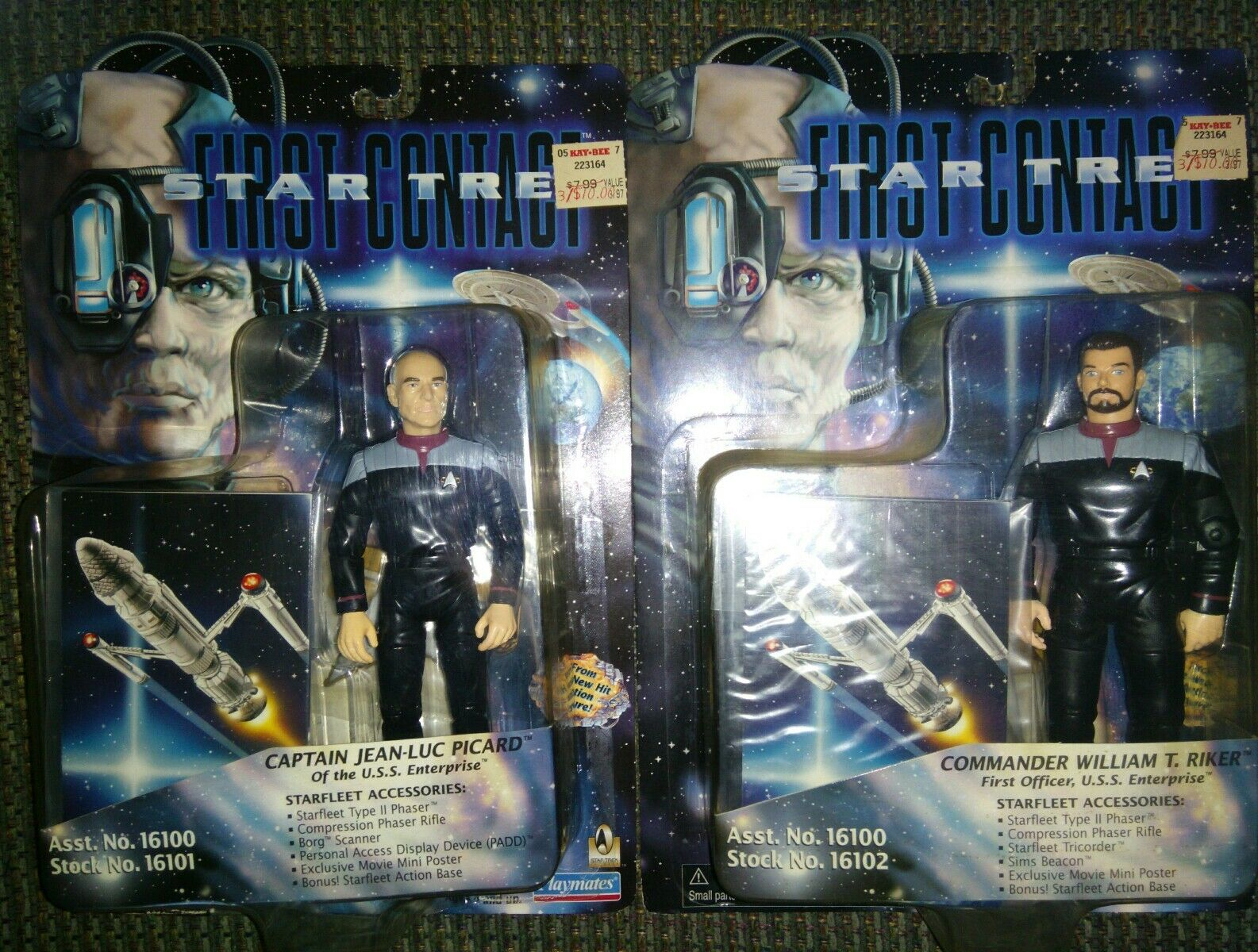 (2) NEW VINTAGE STAR TREK 1996 FIRST CONTACT CAPTAIN POCARD & COMMANDER RIKER