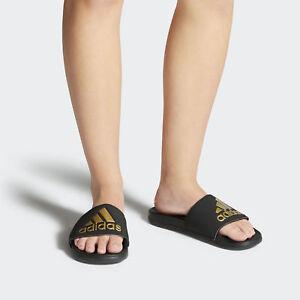 Women s Adidas Adillette Cloudfoam plus Logo slides Black Gold ... 1168f839f