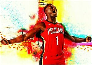 2020 Zion Williamson Pelicans 19/25 Art ACEO Sketch Print Card By:Q