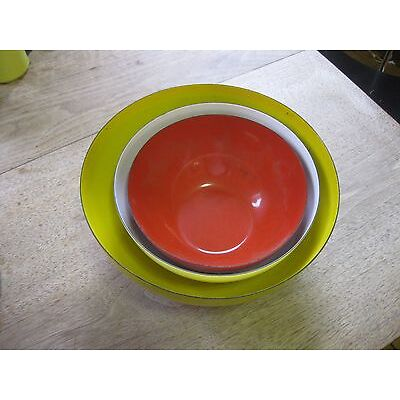 set of 3 vintage FINEL made in FINLAND enamel bowl - design yellow white red