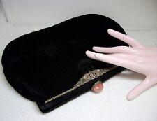 Antique Velvet Bag Clutch Purse ~Sterling Marcasite & Pink Jade Jeweled Frame