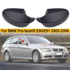 Pair-Matte-Black-Side-Mirror-Cover-Cap-For-BMW-E90-E91-330i-335i-2005-2008
