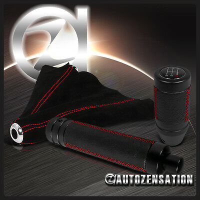 Black Suede w/ Red Stitch Manual Shift Knob+Hand Brake Handle Grip+Boot Cover