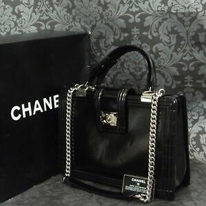 90dbe23b58f Rise-on CHANEL Boy Enamel Patent Black 2 Way Chain Shoulder bag ...