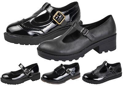 Kids Girls Chunky Block Heel Platforms