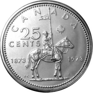 Canada-1973-RCMP-Commemorative-Quarter-from-OBW-Roll-BU-Mint