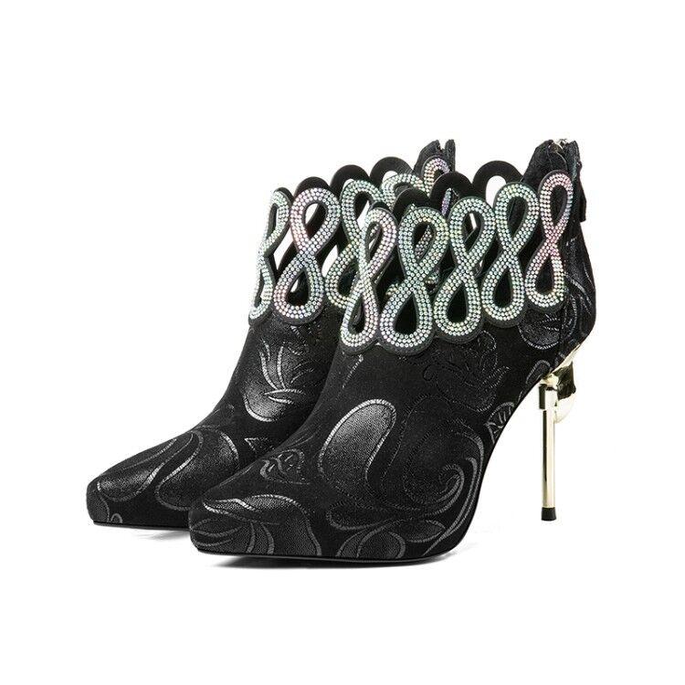 Sexy femmes bout pointu et strass Stilettos Talons Bottines Parti Floral Chaussures