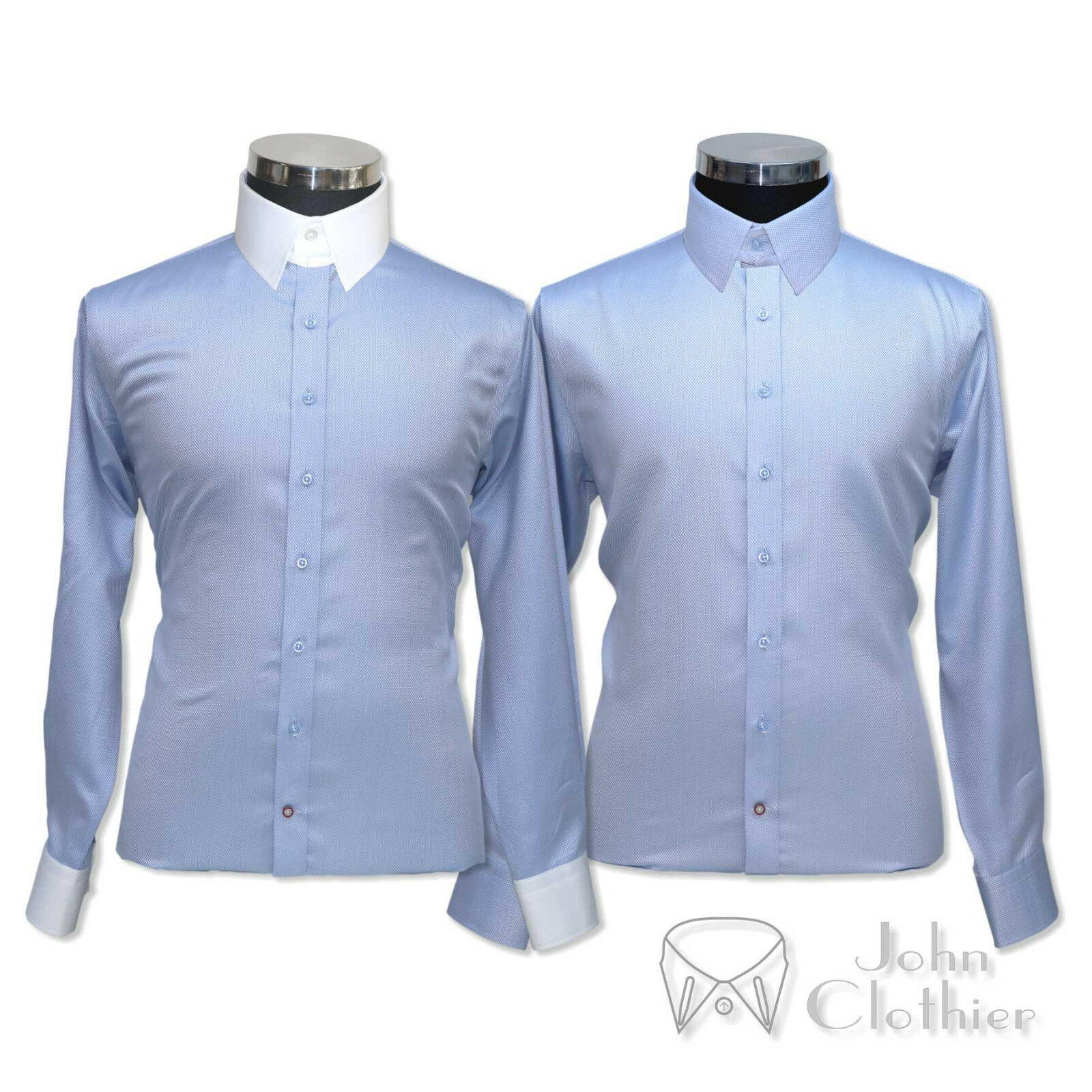 Pour des hommes Cotton Tab collar shirt Sky bleu diamond dobby Loop James Bond collar Gents
