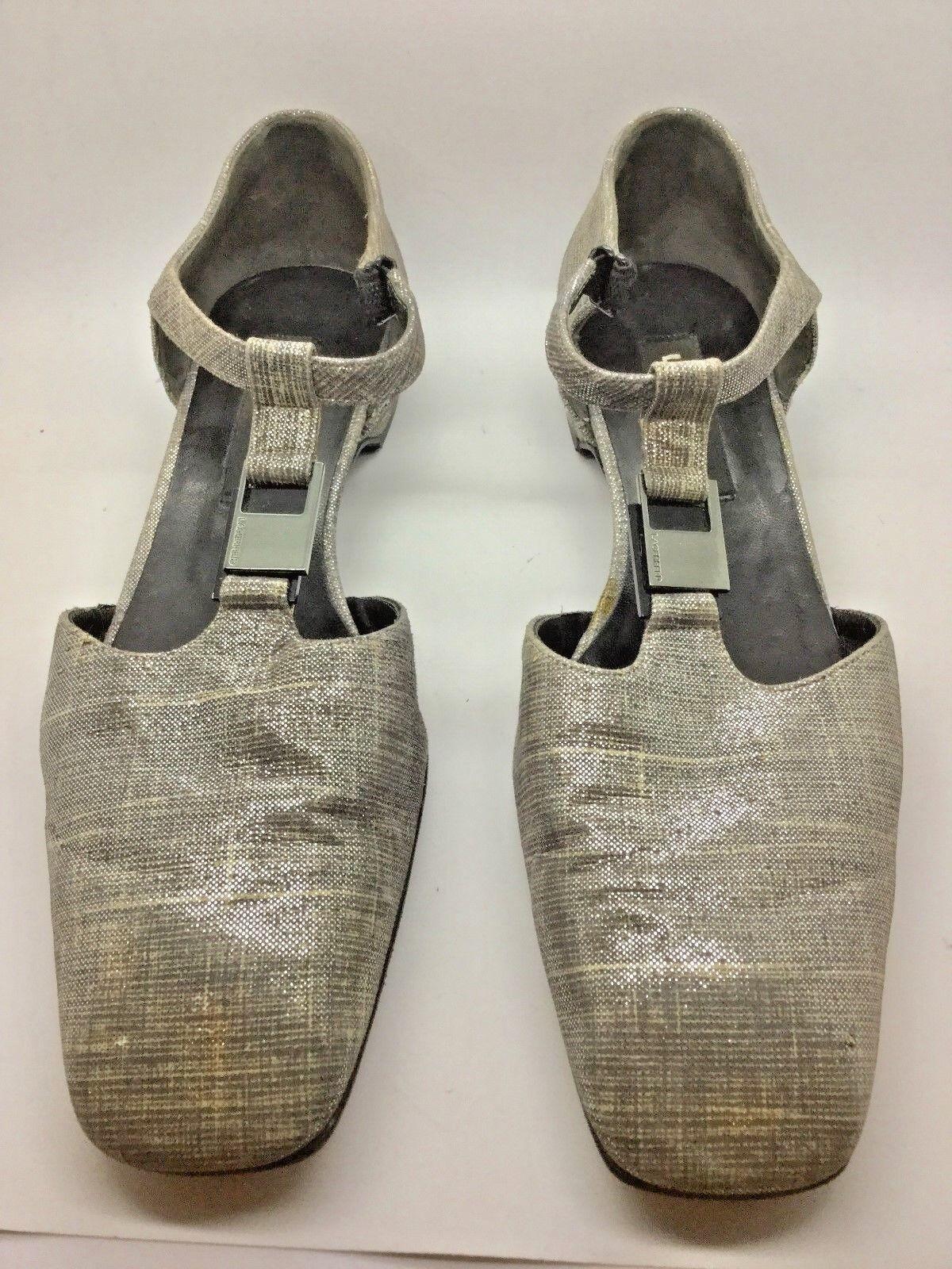 LAGERFELD Silver Metallic Flat Loafer Size 7.5
