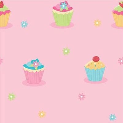 CUPCAKE FUN 4 WALLS PINK GIRLS BUN  KIDS DESIGNER  FEATURE WALLPAPER WP30184