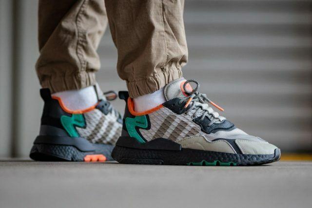 Adidas Nite Joggers Uomo Grigio Nero Verde Scarpe Sneaker Sportive UK Size 7 11
