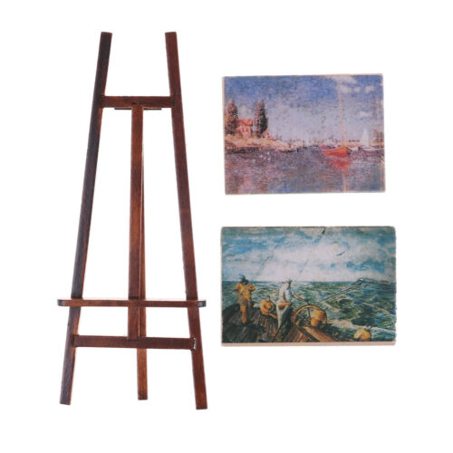 Dollhouse Miniature Accessory Artist Easel Stand /& 2 Wood Paintings Pictu BLUS