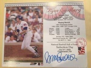 Ryne Sandberg Cubs Induction Day Card Signed HOF