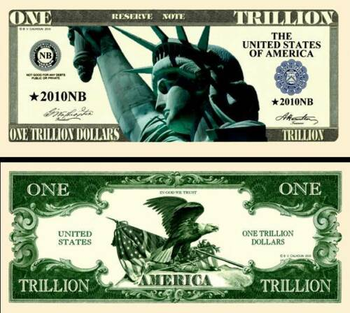 New-Style Liberty Trillion Dollar Bill Fake Funny Money Note with FREE SLEEVE