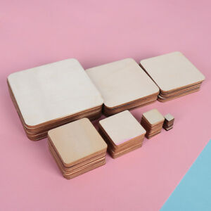 Scrapbooking DIY Writing Square Wood Pieces Blank Plaque Wooden Tags Ornament