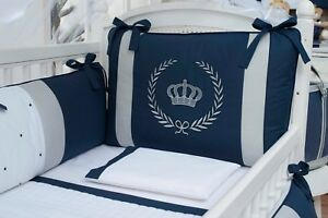 Royal Crown Theme Navy Blue Baby Boy 08pcs Nursery Crib