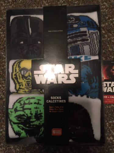 6-8 Shoe Size 10.5-4 NEW Star Wars Socks Set 6 Sz