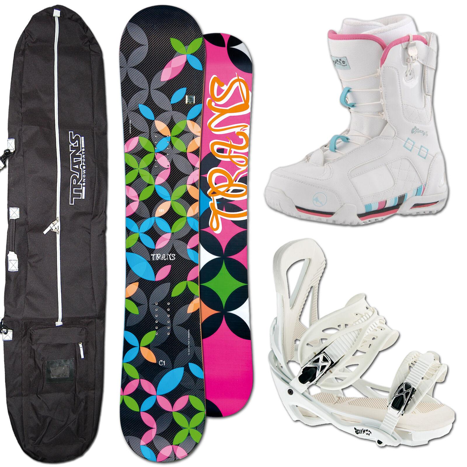 DAMEN SNOWBOARD  TRANS C1 CARBON 148 CM + ELFGEN TEAM BINDUNG M + BOOTS + BAG