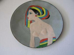"Vintage Copper Enamelware Artist Plate 6"" Tribal Woman Motiff 1950's signed TD"