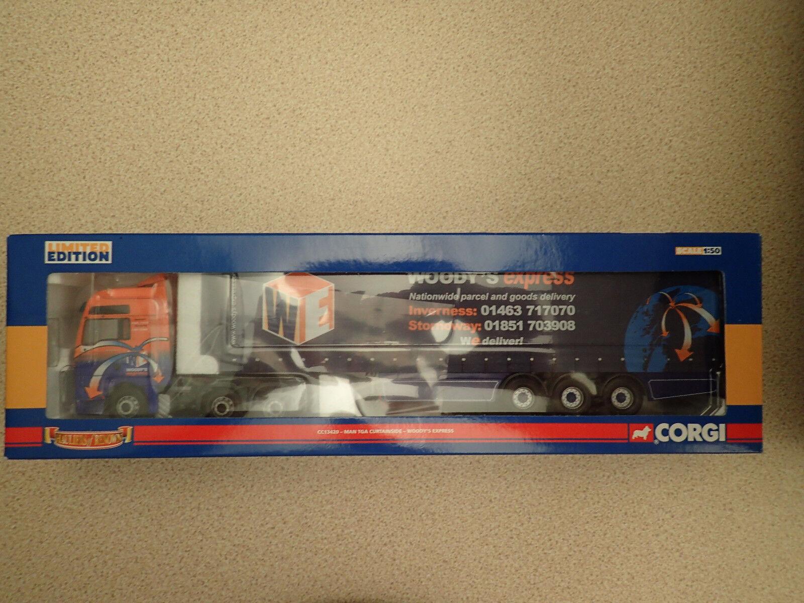 Corgi 1 50 CC13420 MAN TGA Curtainside Woody's Express Untouched