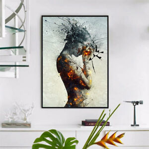 Modern-Abstract-Burning-Beauty-Canvas-Wall-Art-Poster-Painting-Home-Decor-RE