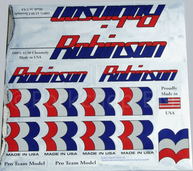 Robinson Racing old mid school BMX bicycle decal set 1995-96 on CHROME