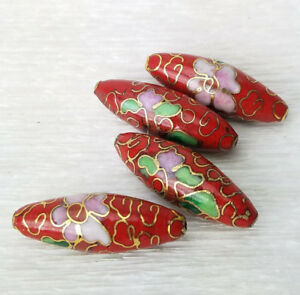 Red-Cloisonne-Enamel-Chinese-Tapered-Oval-Beads-26x9mm-4PCs