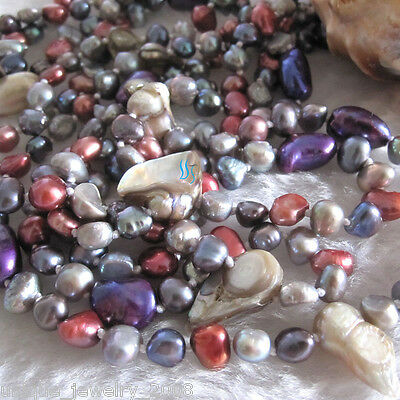 """74"""" 6-10mm Multi Color Baroque Freshwater Pearl Necklace B UJ"""