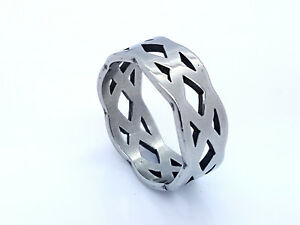STAINLESS-STEEL-WIDE-9MM-RING-SILVER-TONE-MEN-039-S-WOMEN-039-S
