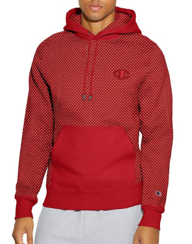 Champion Mens Athletic Life Super Fleece 2.0 Pullover Red Dotted Print Hoodie by Champion Life