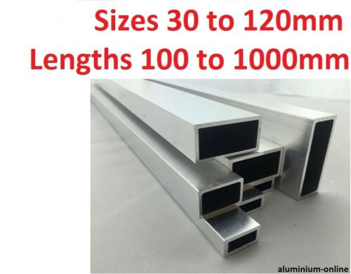 ALUMINIUM RECTANGULAR BOX SECTION 30mm 35mm 40mm 50mm 60mm 120mm 200mm