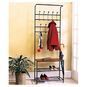 coat rack shoe rack entryway bench mud room hat rack umbrella stand all in one ebay. Black Bedroom Furniture Sets. Home Design Ideas