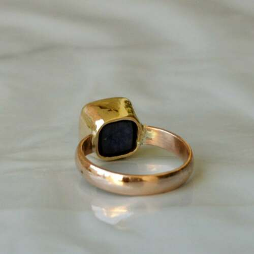 Details about  /Faceted Natural Blue Sapphire Yellow Gold Over 925 Sterling Silver Ring Jewelry