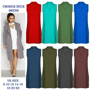 Plus-Size-New-Womens-Choker-V-Neck-Cut-out-Swing-Mini-Dress-Ladies-Loose-Fit-Top