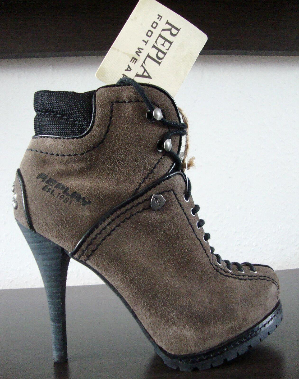 REPLAY Damen Stiefelette RP320016L Damen Damen Damen Stiefel Leder AnkleStiefel Nieten Gr.35 NEU 220d36