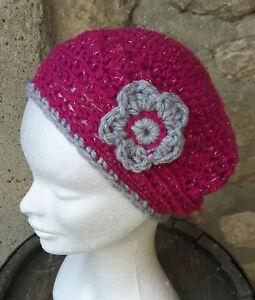 Bonnet Femme Rose Et Gris Fleurs Crochet Fait Main Par Les Miennes Ebay