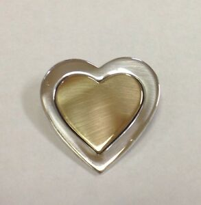 4bf4d53fbb3 VINTAGE TIFFANY   CO .925 18K YELLOW GOLD STERLING SILVER HEART PIN ...